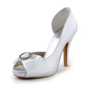 Belles Chaussures De Mariée Blanc En Satin Stilettos Latérales Ouvertes Escarpins Avec Strass