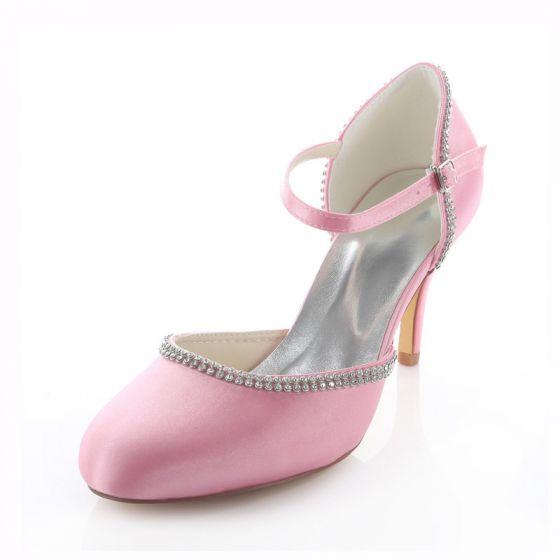 Eleganckie Różowe Buty Ślubne 8cm Wysokie Szpilki Czółenka Z Paskiem Na Kostce