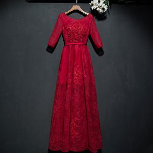 Chic / Beautiful Red Formal Dresses Evening Dresses  2017 Lace Flower Sequins Scoop Neck 1/2 Sleeves Ankle Length A-Line / Princess