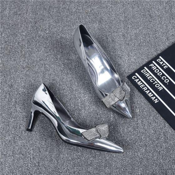 Mote Sølv Aften Pumps 2019 Lær Rhinestone Sløyfe 6 cm Stiletthæler Spisse Pumps