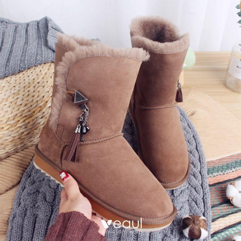 Flache Freizeit Metall Mode Leder 2017 Ankle Damen Schneestiefel Winter Boots Stiefel Wildleder Khaki Quaste SVzpGqUM