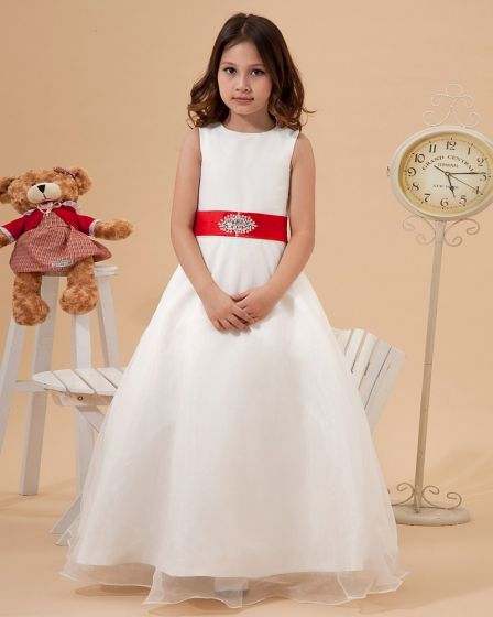 Satin Organza Sewing Beads Handmade Flower Girl Dresses