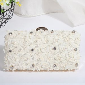 Flower Fairy White Beading Pearl Crystal Cocktail Party Evening Party Clutch Bags 2018