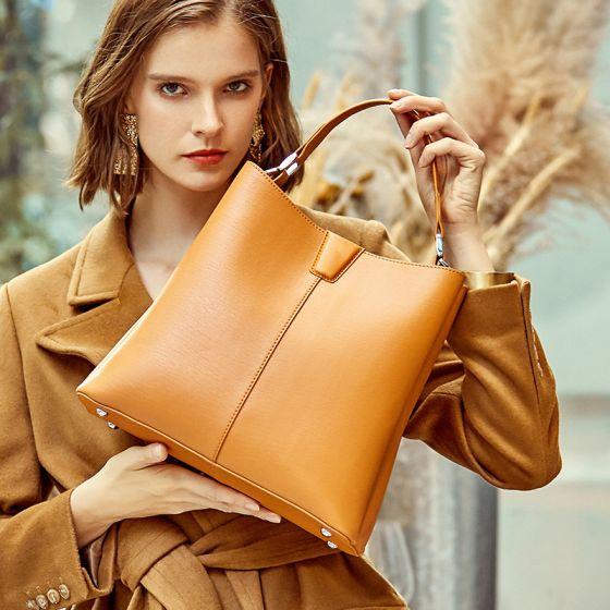 Schlicht Gelb Quadratische Handtasche Umhängetasche Schultertaschen 2021 Leder Freizeit Damentaschen