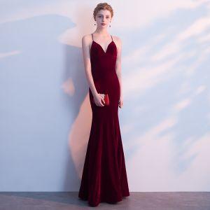 Modest / Simple Burgundy Evening Dresses  2018 Trumpet / Mermaid Spaghetti Straps X-Strap Backless Sleeveless Floor-Length / Long Formal Dresses