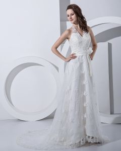 Applique Bead Halter Empire Bridal Gown Wedding Dress