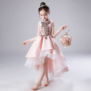 Chic / Beautiful Blushing Pink Satin Flower Girl Dresses 2020 A-Line / Princess High Neck Sleeveless Bow Sequins Beading Asymmetrical Ruffle Wedding Party Dresses