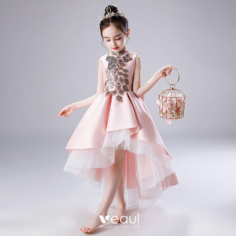 Chic Beautiful Blushing Pink Satin Flower Girl Dresses 2020 A Line Princess High Neck Sleeveless Bow