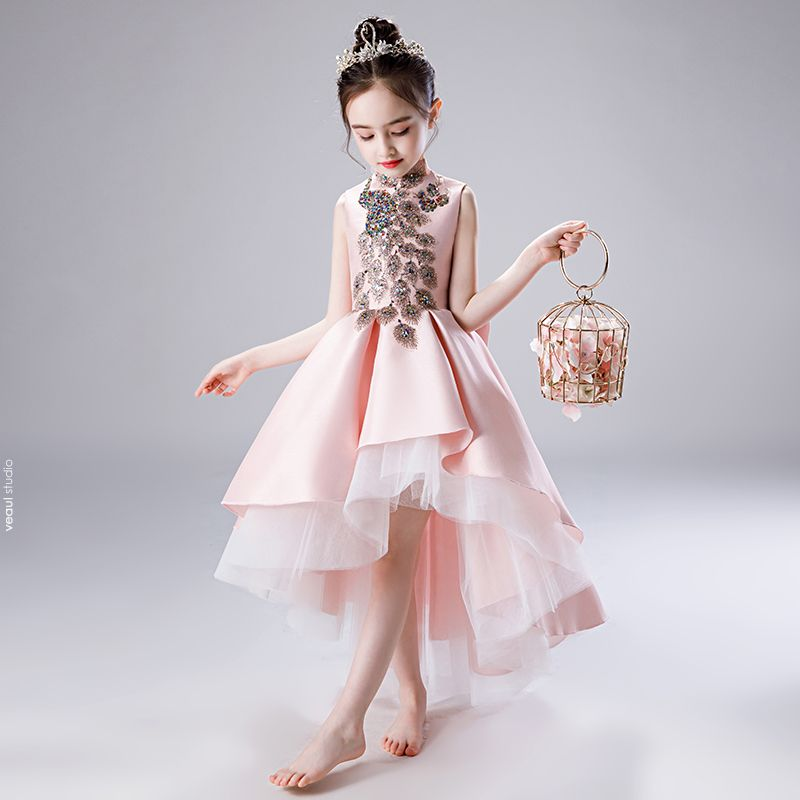 Chic / Beautiful Blushing Pink Satin Flower Girl Dresses 2020 A-Line / Princess High Neck Sleeveless Bow Sequins Beading Asymmetrical Ruffle Wedding Party Dresses