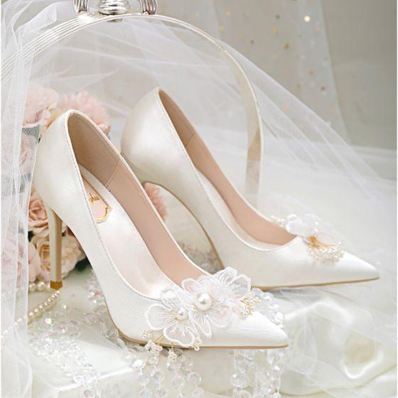 Elegant Ivory Satin Wedding Shoes 2020 Pearl Lace Flower 10 cm Stiletto Heels Pointed Toe Wedding Pumps