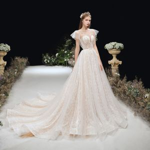 Champagne See-through Light Wedding Dresses 2020 A-Line / Princess Bell sleeves Square Neckline Backless Beading Bow Sash Court Train Ruffle