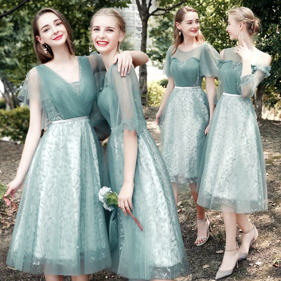 Chic / Beautiful Mint Green Bridesmaid Dresses 2021 A-Line / Princess Scoop Neck Short Sleeve Backless Sash Tea-length Wedding Party Dresses