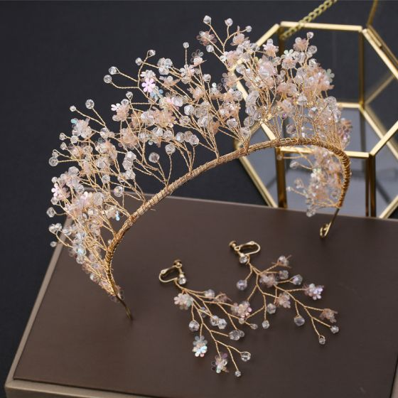 Charmant Gold Brautschmuck 2019 Metall Kristall Pailletten Tiara Ohrringe Hochzeit Brautaccessoires