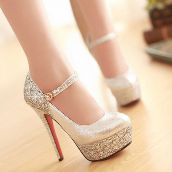 Sparkly Silver Wedding Shoes 2019 Sequins Ankle Strap 14 cm Stiletto Heels Pointed Toe Wedding Pumps
