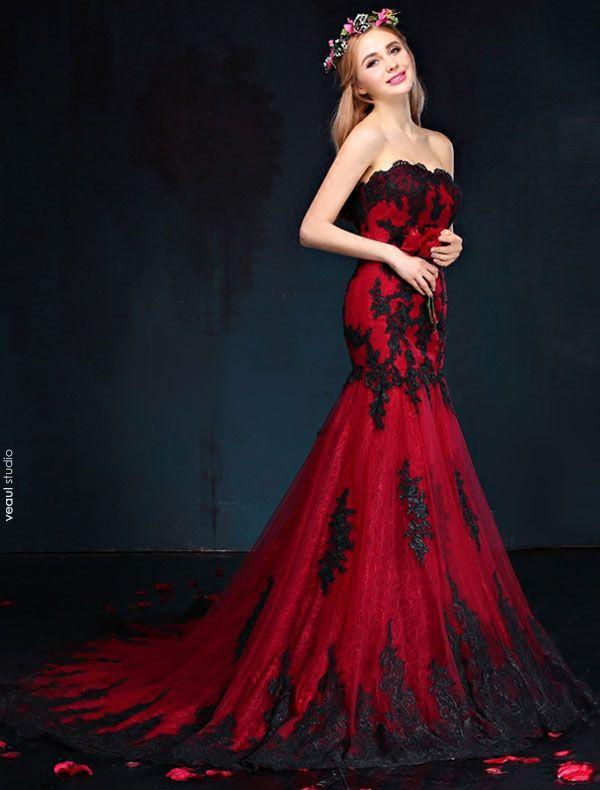 Robe De Soirée Sirène 2017 Rouge Et Noir De Dentelle Bretelles Robe Ceremonie