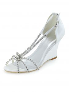 The New Diamond Slope With High-heeled Shoes Diamond Chain White Satin Wedding Shoes