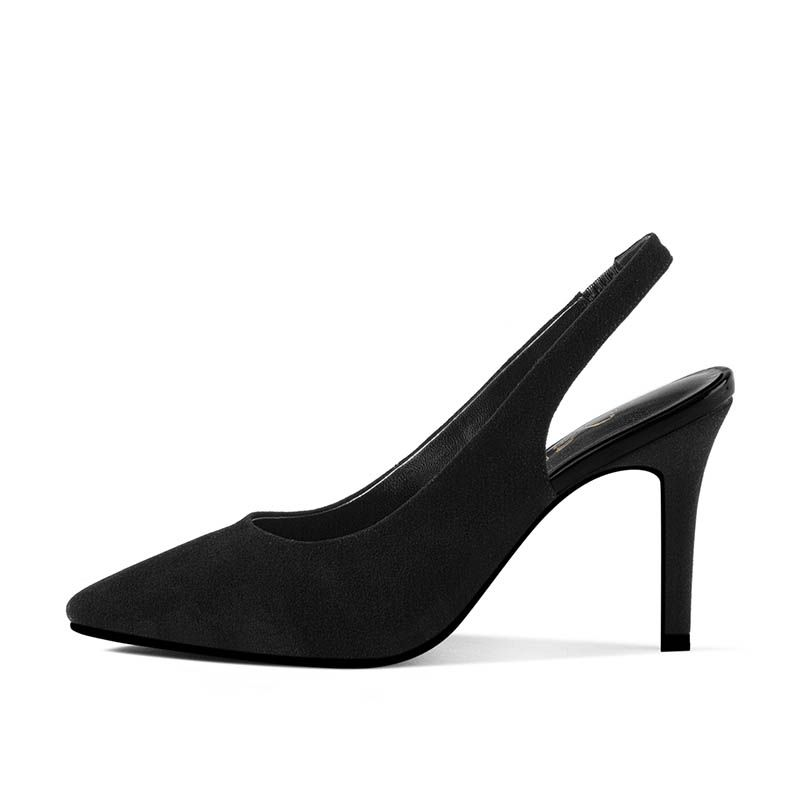 Chic / Beautiful Black Outdoor / Garden Pumps 2017 Leather High Heel Suede Pointed Toe Pumps