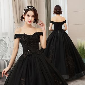 Elegant Black Quinceañera Prom Dresses 2019 A-Line / Princess Off-The-Shoulder Pearl Lace Flower Short Sleeve Backless Floor-Length / Long Formal Dresses