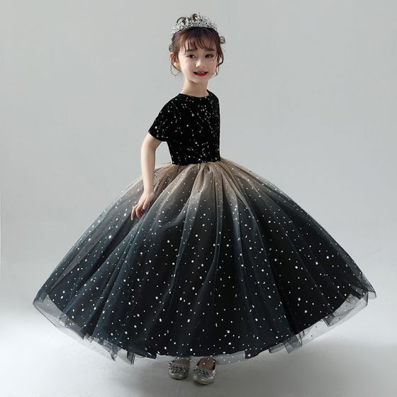 Chic / Beautiful Black Flower Girl Dresses 2019 Ball Gown Scoop Neck Short Sleeve Star Embroidered Glitter Tulle Floor-Length / Long Ruffle Wedding Party Dresses