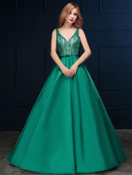af4da3943 2016 V-cuello De Encaje De Cuentas Sin Respaldo De Raso Verde Oscuro Vestido  De Gala Largo