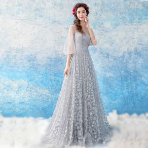 Chic / Beautiful Grey Evening Dresses  2018 A-Line / Princess Tulle U-Neck Buttons Backless Beading Glitter Evening Party Formal Dresses