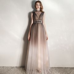 Illusion Brown See-through Evening Dresses  2020 A-Line / Princess High Neck Sleeveless Rhinestone Sash Floor-Length / Long Ruffle Formal Dresses