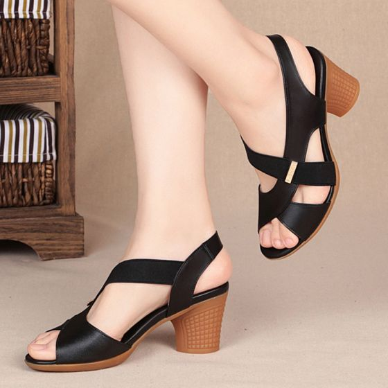 Abordable Noire Désinvolte Sandales Femme 2020 6 cm Talons Épais Peep Toes / Bout Ouvert Sandales