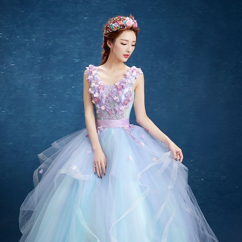 Chic / Beautiful Formal Dresses 2017 Prom Dresses Sky Blue Ball Gown Floor-Length / Long V-Neck Sleeveless Backless Sash Pearl Appliques Flower