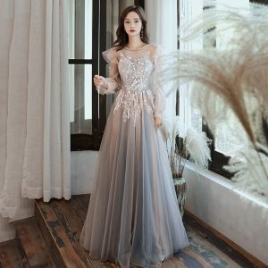 Elegant Grey See-through Evening Dresses  2020 A-Line / Princess Scoop Neck Puffy Long Sleeve Appliques Lace Floor-Length / Long Ruffle Backless Formal Dresses