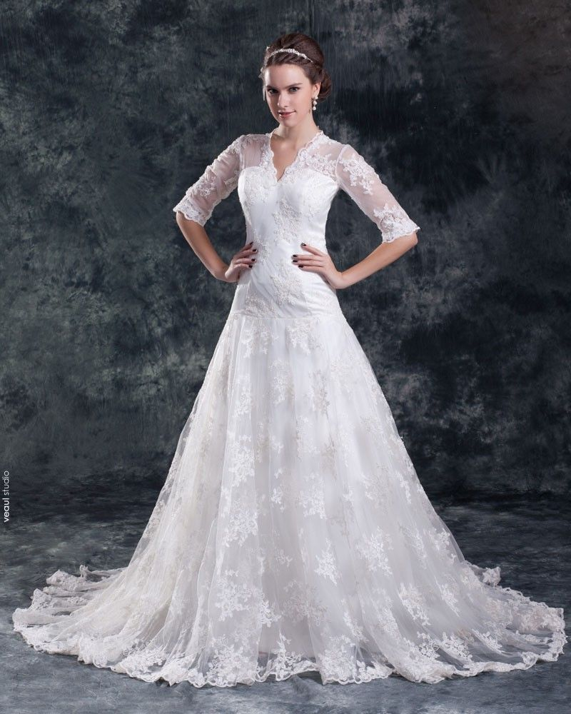 Lace Satin Flower Beads V Neck Court Train Women A Line Wedding Dress