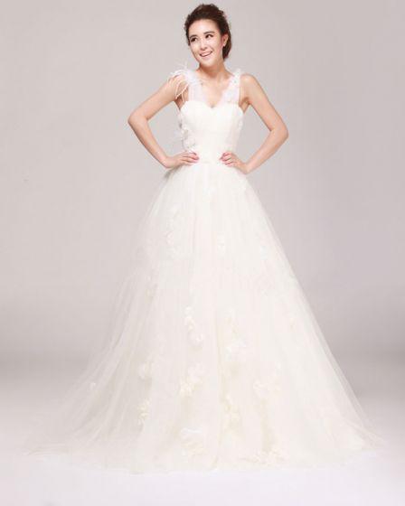 V Fleur De Cou De Perles Longueur De Plancher Satin Tulle Une Robe De Mariage En Ligne