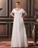 V Neck Sweep Plus Size Bridal Gown Wedding Dress