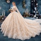 Chic / Beautiful Champagne Wedding Dresses 2019 Ball Gown Off-The-Shoulder Short Sleeve Backless Appliques Lace Cathedral Train Ruffle
