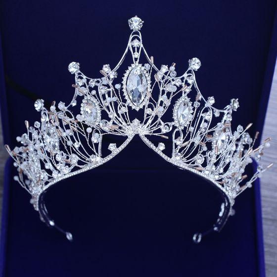 Chic / Beautiful Silver Tiara Metal Beading Crystal Rhinestone Bridal Hair Accessories 2019