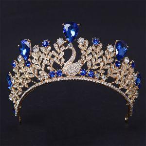 Mooie / Prachtige 2017 Rode Koninklijk Blauw Goud Zilveren Kristal Rhinestone Metaal Tiara Bruidssieraden