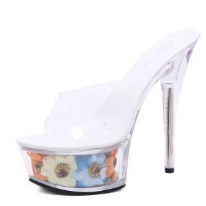 Fée Des Fleurs Transparent Blanche Jardin / Extérieur Sandales Femme 2020 15 cm Talons Aiguilles Peep Toes / Bout Ouvert Sandales