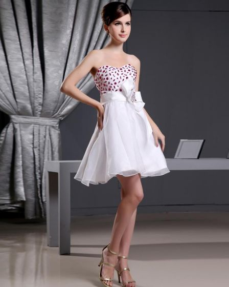 Organza Satin Beading Sweetheart Thigh Length Mini Wedding Dress