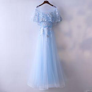 Schöne Blau Abendkleider 2017 A Linie Perlenstickerei Perle Mit Spitze Blumen Rundhalsausschnitt Rückenfreies 1/2 Ärmel Knöchellänge Abend