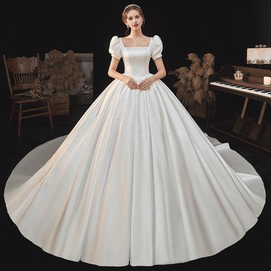 Modest / Simple Ivory Satin Wedding Dresses 2021 Ball Gown Square Neckline Short Sleeve Backless Royal Train Wedding