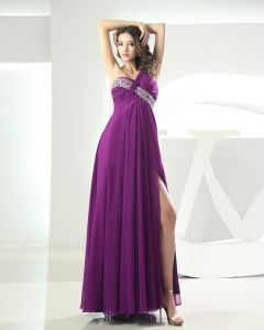 One Shoulder Flower Pleated Beading Sleeveless Floor Length Chiffon Woman Prom Dress