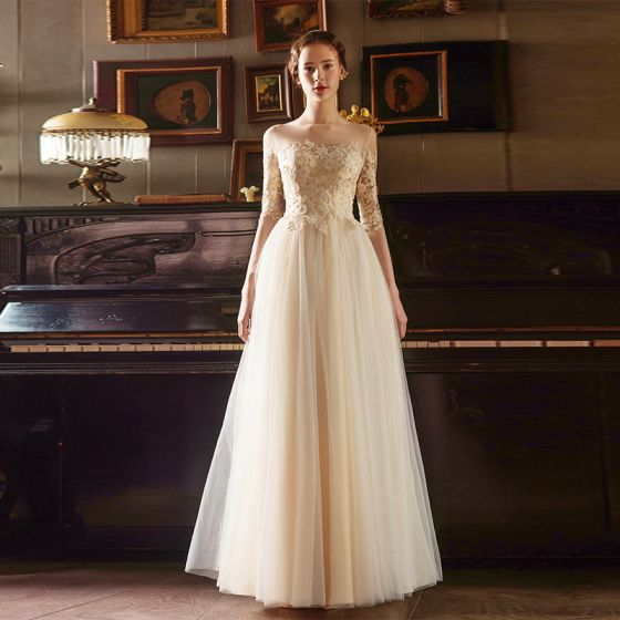 Elegant Gold Prom Dresses 2018 Empire Square Neckline Long Sleeve See-through Appliques Lace Floor-Length / Long Ruffle Formal Dresses
