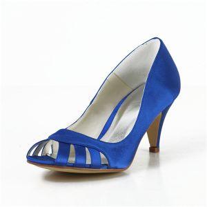 Comfortabele Peep Toe Pumps Blauwe Satijnen Bruidsschoenen Trouwschoenen
