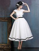 Vintage Einfachen Weißen Ballkleider Mit V-ausschnitt Rückenfreies Partykleider Mit Schleife Schärpe