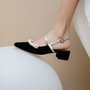 Chic / Beautiful Black Dating Pearl Womens Sandals 2020 Leather 3 cm Low Heel Pointed Toe Sandals