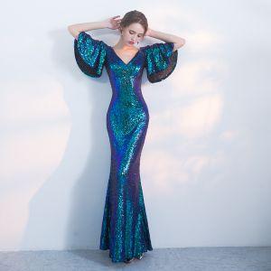 Schöne Tintenblau Festliche Kleider 2017 Mermaid Pailletten V-Ausschnitt Rückenfreies 1/2 Ärmel Lange Abendkleider