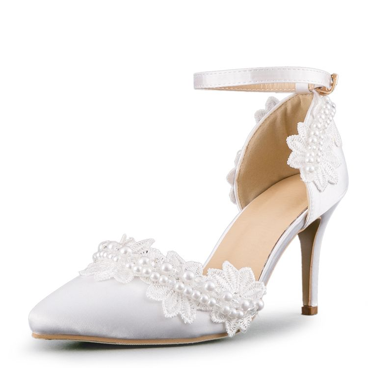 Chic / Beautiful 2017 8 cm / 3 inch White Beach Church Lace Satin Chiffon Appliques High Heels Stiletto Heels Pumps Wedding Shoes