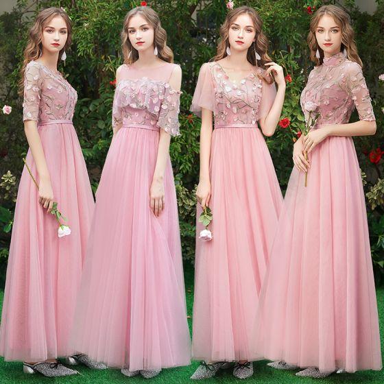 ef2db686c0 Asequible Rosa Vestidos De Damas De Honor 2019 A-Line   Princess Apliques  Con Encaje Cinturón Largos ...