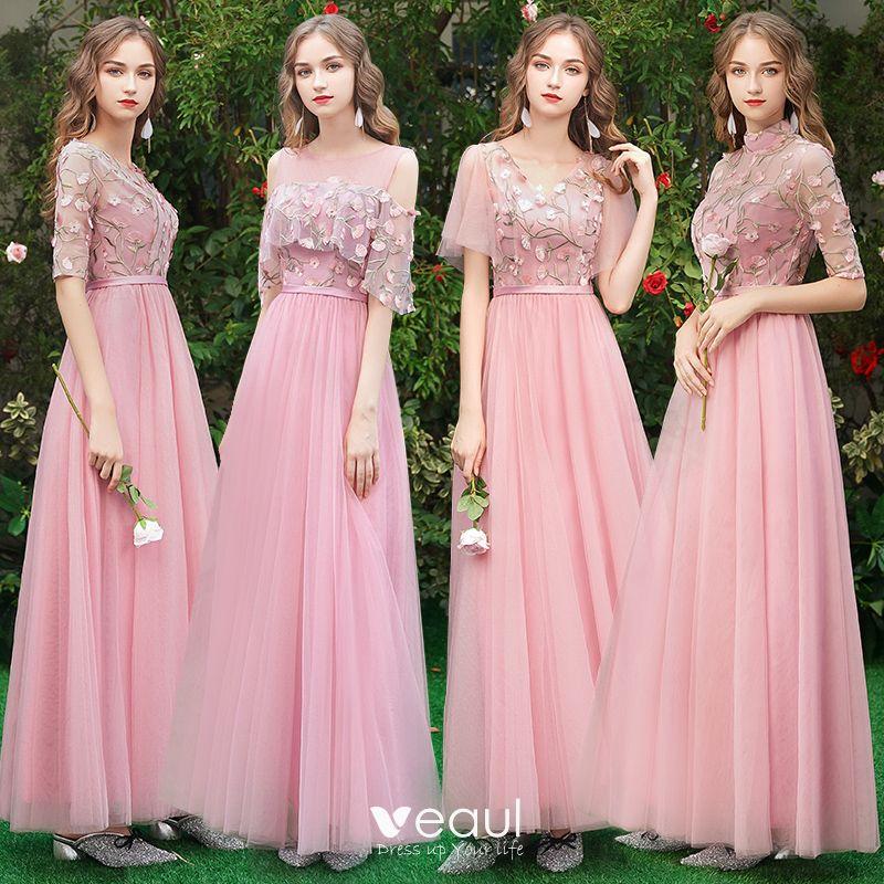 Asequible Rosa Vestidos De Damas De Honor 2019 A Line Princess Apliques Con Encaje Cinturón Largos Ruffle Vestidos Para Bodas