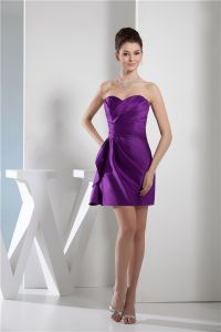 Chics Volants Sans Bretelles Sweetheart Courte Robe De Cocktail Violet