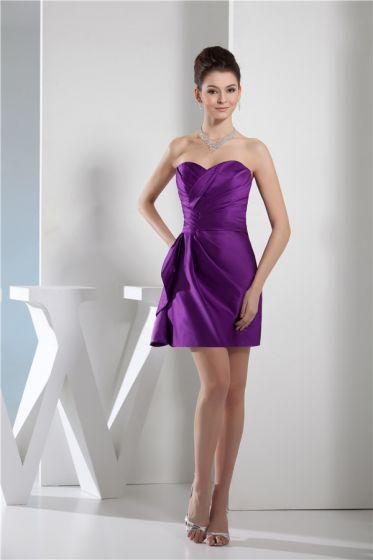 Chics Volants Sans Bretelles Sweetheart Courte Robe De Cocktail Violet